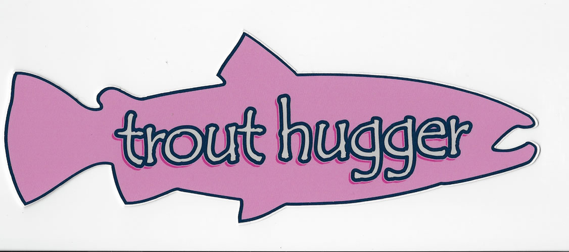 Trout Hugger Decal LG Pink